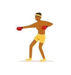 cartoon black man in protective gloves vector image vector image