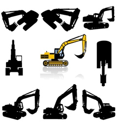 excavator silhouette vector image vector image