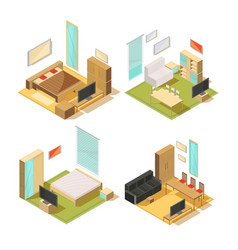 flat rooms isometric interiors vector image vector image