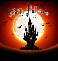 halloween scary house on full moon background vector image vector image