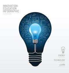 Infographic light bulb flat line idea education vector image vector image