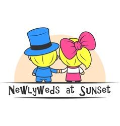 Newlyweds at Sunset vector image