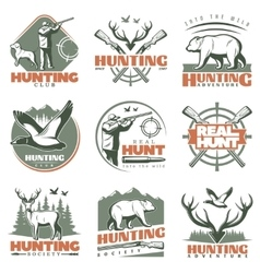 Real Hunt Emblem Set vector image vector image