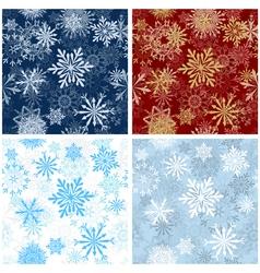 Set of Seamless Snowflake Patterns vector image