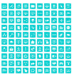 100 internet icons set grunge blue vector image