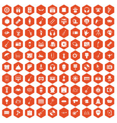 100 show business icons hexagon orange vector