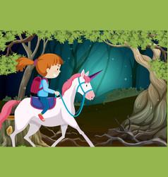 a girl riding unicorn at night vector image