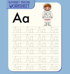 alphabet tracing worksheet with letter a and a vector image