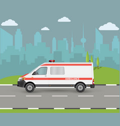 ambulance car city landscape with vector image