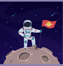 Astronaut on moon spaceman with flag vector