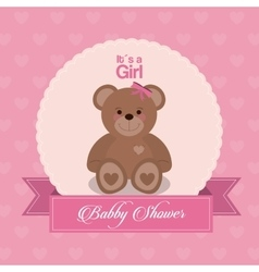 Baby Shower design teddy bear icon pink vector image