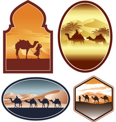 bedouin with camel in a desert landscape vector image