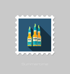 Beer bottle stamp summer vacation vector