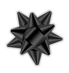 black bow ribbon 3d decor element package shiny vector image