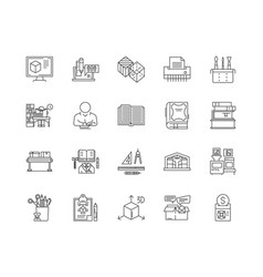 Book printing line icons signs set vector