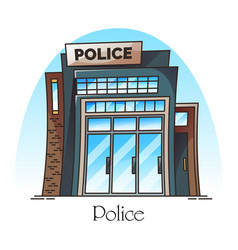 building facade police station or department vector image