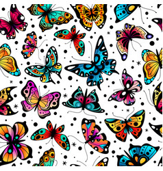 butterfly seamless pattern cute colorful vector image