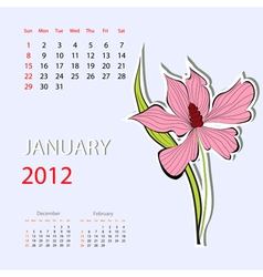 calendar for 2012 january vector image
