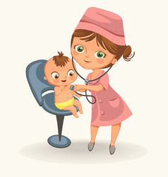 cartoon pediatrician examines little kid poster vector image