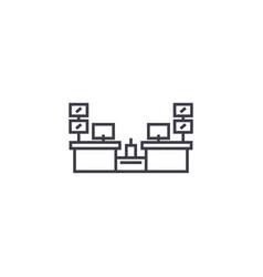 Cashier desks line icon sign vector