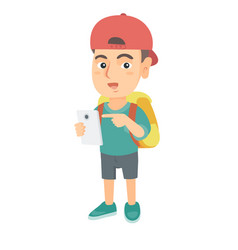 caucasian boy with backpack pointing at cellphone vector image