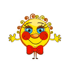 cheerful sun isolate vector image