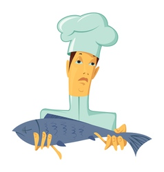 Chef with fish vector