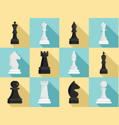 chess icon set flat style vector image
