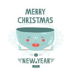 Christmas card with cute mug magic wand and skates vector