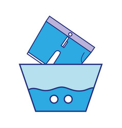 Clean shorts soaking in pail with water vector