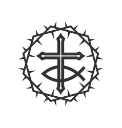 Cross jesus christ and a fish vector