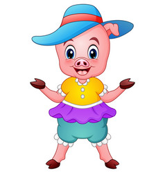 cute pig cartoon raising his arms vector image