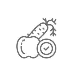 Diet vegetables fruits proper nutrition line vector