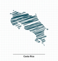 Doodle sketch of Costa Rica map vector