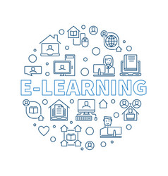 E-learning outline concept round vector