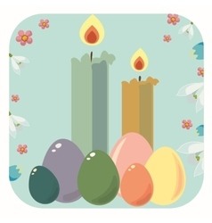 Easter frame with easter eggs vector image