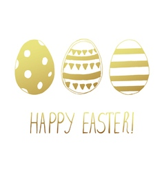 Easter greeting eggs gold vector