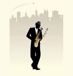 Elegant man silhouette playing saxophone skyline vector