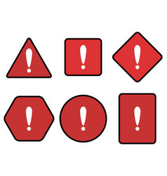 Exclamation and warning red symbol set vector