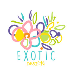 exotic logo original design with tropical flowers vector image