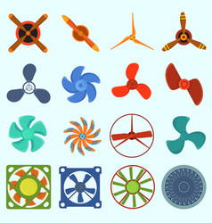 fans and propellers technology icons vector image