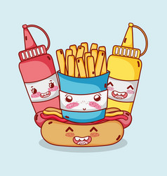 fast food cute french fries hot dog mustard and vector image