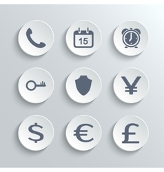 Finance icons set - white round buttons vector