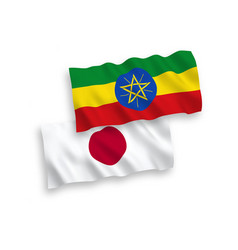 Flags japan and ethiopia on a white background vector