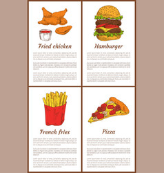 fried chicken and french fries vector image