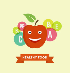 funny cartoon smiling apple vector image