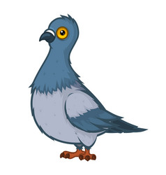 funny surprised disheveled dove in cartoon style vector image