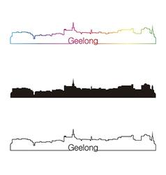Geelong skyline linear style with rainbow vector image