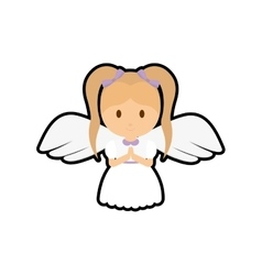girl kid angel cartoon icon vector image
