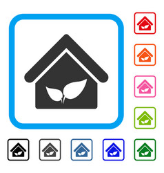 Greenhouse framed icon vector